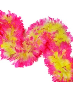 """6 Ft. Tipped Turkey Feather Boas 10-14"""" - Fluorescent Yellow and Pink Orient"""