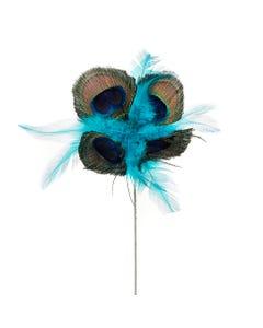 Feather Floral Stem - Peacock- Hackle Natural/Dark Aqua