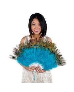Marabou-Peacock Feather Fan - Dark Aqua