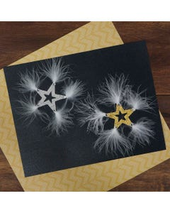 Glitter Star Sticker with Marabou Gold and Silver