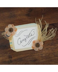Flower Stickers w/Feathers 2 pcs -