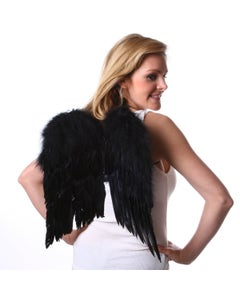 Small Feather Angel Wings - Black