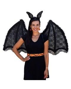 Large Batwing Set w/LED Headband Black