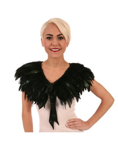 Rooster Coque Feather Cape-Black/Iridescent
