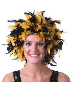 Chandelle Feather Wig-Mixed - Black/Gold Lurex