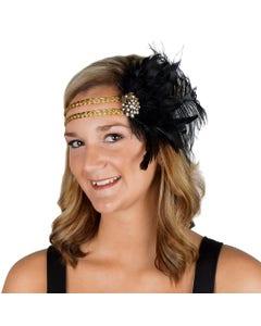 Feather Headband w/Ostrich/Schlappen Black/Gold