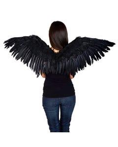 Black Angel Fairy Cosplay Halloween Crow Feather Wing
