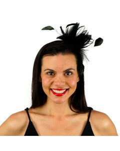 Feather Headband w/Rooster Hackle/Stripped Coque Black
