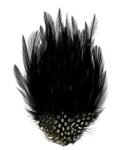 Hackle-Guinea Small Feather Pad - Black Natural