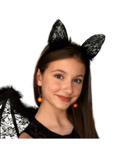 Feather and Lace Cat Ears Headband - Black