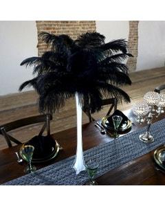 Ostrich Eiffel Tower Centerpiece Black w/White Vase