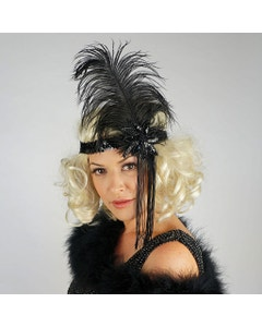 Flapper Feather Headband w/Tassel - Black and Black