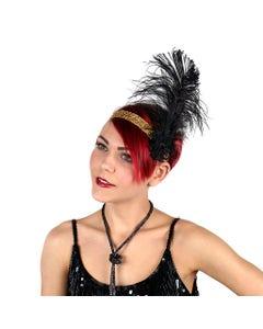 Ostrich Flapper Headband Black/Gold