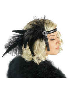 Art Deco Style Feather Headband - Black