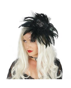 Widow Rhinestone Feather Headband - Black