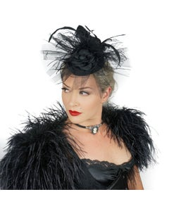 Ostrich Feather Fascinator Wedding, Gothic Victorian Style Hair Clip Accessory - Black