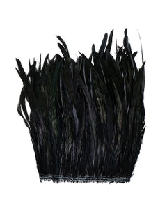 """Rooster Coque Tails Feathers Black Iridescent 15-18"""" [1/4 LB Bulk]"""