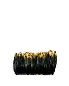 """Rooster Coque Tails Feathers Black Iridescent Tipped Gold 5-8"""" [1/4 LB Bulk]"""
