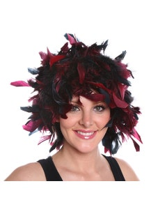 Chandelle Feather Wig-Mixed - Burgundy/Black