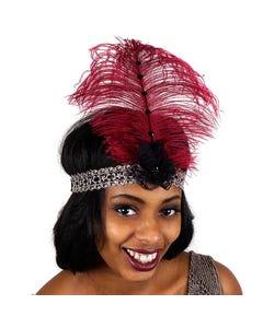 Ostrich Flapper Headband Burgundy/Grey/Black