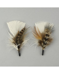 Light Feather Hat Trim With Turkey and Pheasant - Eggshell Natural