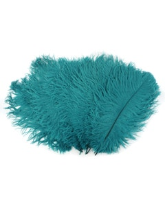 Ostrich Feather Drabs - 1/4 pound (approx. 60 pieces) 13 -16 inch - Dark Aqua
