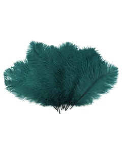 Ostrich Feather Drabs - 1/4 pound (approx. 60 pieces) 13 -16 inch - Teal