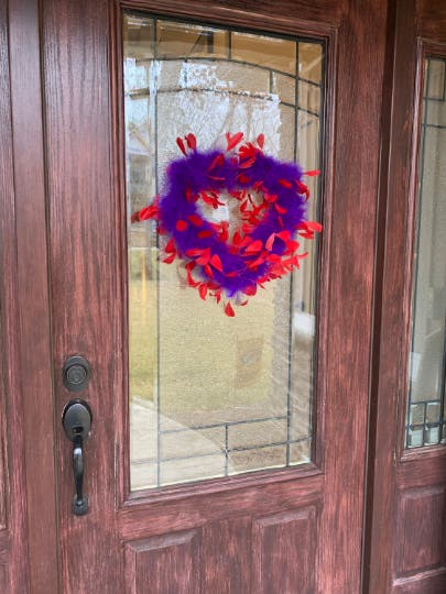 Decorative Red & Purple Feather Heart Shaped Wreath Wall Art