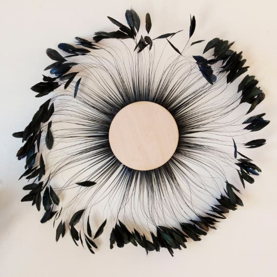 Black Stripped Rooster Coque Tails Feather Wall Art