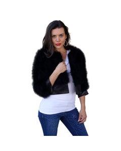 Pleather Trim Marabou Black Jacket