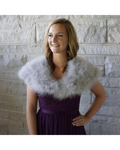 Marabou Feather Shawl w/Hook Grey Gray