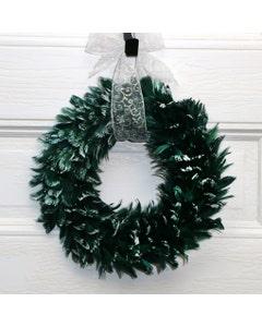 Goose Coquille Feather Wreath - Hunter Green/Opal Lurex