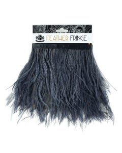 Ostrich Feather Fringe 1PLY 1yd Charcoal Grey Gray