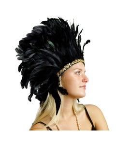"Large Sequined Adjustable Feather Spirit Headdress 15"" - Black"