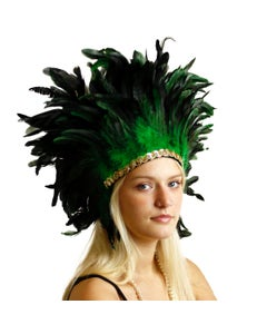 Large Sequined Adjustable Feather Spirit Headdress - Kelly Green