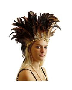 Large Sequined Adjustable Feather Spirit Headdress - Natural