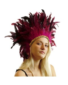 Large Sequined Adjustable Carnival Feather Spirit Headdress - Very Berry