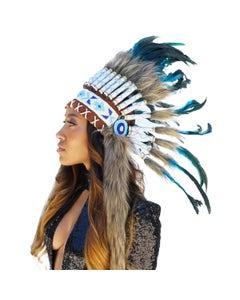 Tribal Style Feather Headdress - Dark Turquoise