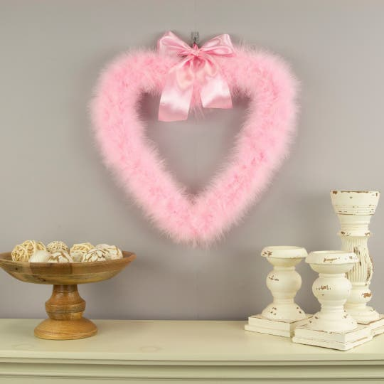 Decorative Candy Pink Heart Shaped Feather Wreath and Wall Art