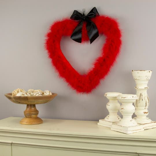 Red Heart Shaped Feather Wreath