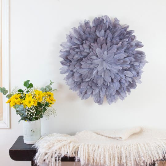 Unique Decorative Feather Wall Art Inspired by African JuJu Hats - Fluorescent Fuchsia