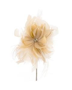 Goose/Turkey/Ostrich Feather Floral Pick w/Rhinestone Beige