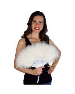 Marabou Feather Fan - Ivory