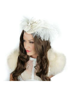 Ostrich Feather Fascinator Wedding, Victorian Style Party Hair Accessory - Ivory