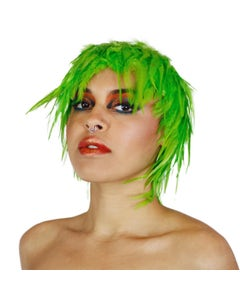 Green Feather Wig