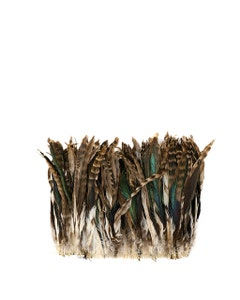 """Rooster Coque Tails Feathers Chinchilla Natural  9-12"""" [1/4 LB Bulk]"""