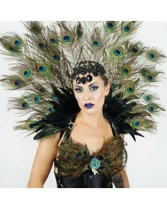 Majestic Peacock Feather Collar Headdress - Natural With Black