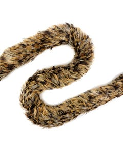 """Rooster Saddle Feather Boa - Natural Badger - 5 - 6""""diameter"""