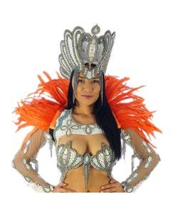 Carnival Feather Collar Hot Orange