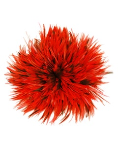 """Badger Rooster Saddle Feathers Strung - 1 Yard 4-6"""" Rooster Feathers - Hot Orange"""